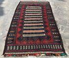 Hand Knotted Afghan Adraskan Balouch Kilim Kilm Wool Area Rug 5 x 3 Ft (21861)