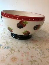 "Vintage Oneida Ceramic ""When in doubt, dip in Chocolate"" Strawberry Bowl Dish"