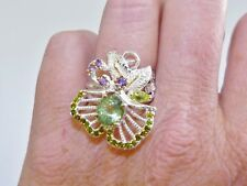 GENUINE 2.78cts Tourmaline, Peridot, Amethyst & Diopside Ring S/Silver 925