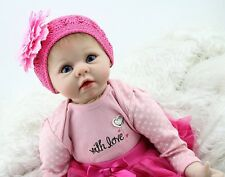 Reborn Baby Doll Soft Silicone vinyl Girl Toy 22in. 55cm Pink Head Dress