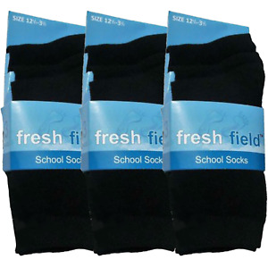 3 Pairs Boys Girls Kids Cotton Lycra Casual School Wear Plain Black Shoe Socks