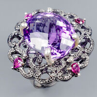 Handmade23ct+ Natural Amethyst 925 Sterling Silver Ring Size 8/R121069