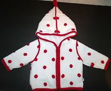 Gap White Red Polka Dot Hooded Cotton Sweater Jacket NB 3-6 Months GC 1
