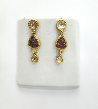 Vintage antique 20K Gold jewelry Diamond polki pearl earring pair India