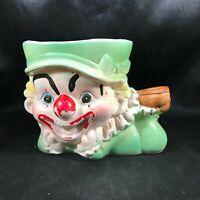 Vintage Ceramic Clown Green Costume Planter