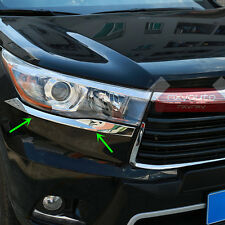 Front Light Chrome Trim Eyelid Garnish For Toyota Highlander 2014 2015 2016(Fits: Toyota Highlander)