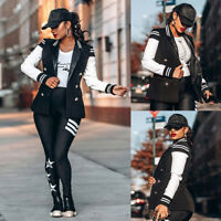 ❤️Women Button Bomber Jacket Casual Long Sleeve Baseball Blazer Coat Top Outwear