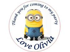 35 Personalised Minions Stickers 3 for 2 Thank you Party Seal Birthday