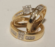 Diamond Engagement Ring 14K Yellow Gold Over His And Her Trio Bridal Wedding Set