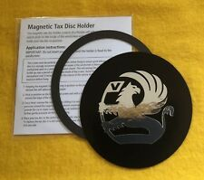Magnetic Tax Disc & Permit Holder Black with Chrome effect logo fits vauxhall