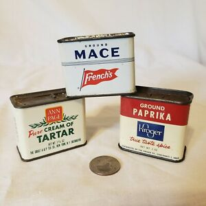 ANN PAGE  FRENCH'S KROGER Spice Tins - PAPRIKA, MACE, CREAM OF TARTAR A & P