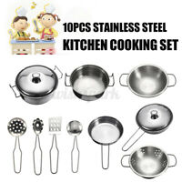 10Pcs Stainless Steel Cookware Kitchen Cooking Set Pots & Pans Toy Children  Yy