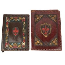 Vintage Tooled Leather Journal Book Covers Made in Italy Antique Some Damage Old