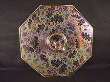 Fostoria Oak Wood Brocade Iridized Sandwich Tray Orchid Acorn Etched Glass 1928