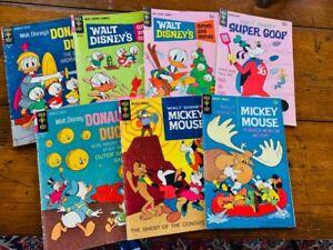 (7) 1960s GOLD KEY DISNEY Comic Books ~ Mickey, Donald, Super Goof, etc.
