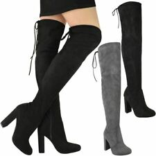 Womens Ladies Thigh High Boots Block High Heels Over The Knee Sexy Shoes Size