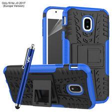 Heavy Duty Shockproof Tough Builder Hard Back Case for Samsung Galaxy J3 2017 Blue