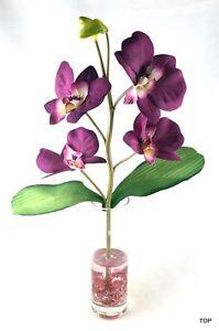 Artificial Orchids Purple Glass Vase Round Table Decoration