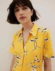 MARKS AND SPENCER FLORAL COLLARED MIDI SHIRT DRESS ANTIQUE GOLD COLOUR SIZE14