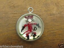 Vintage sterling silver PUSS N BOOTS PIRATE CAT INTAGLIO charm REVERSE CRYSTAL