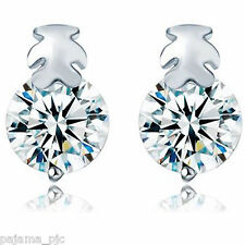 SILVER Women CZ Crystal Cute Teddy Bear Stud Earrings Ship To US & Worldwide