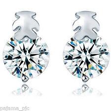 SILVER Women CZ Crystal Cute Teddy Bear Stud Earrings Ship To US & Worldwide