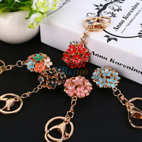Cute Crystal Rhinestone Flower Keyring Keychain Charm Pendant Bag Purse Car Gift