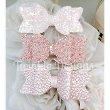 "Mini Set Of 3 Blush Pink Glitter Fabric Hair Bow Clip 2.5"""