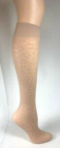 4 pr - Knee Highs--Samples - One Size - Leopard Pattern knee highs - Oatmeal