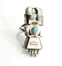 Vintage Sterling Silver 925 Native American Kachina Turquoise Ring Size 6.75