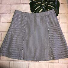 Loft 10p Blue White Striped Nautical Skirt A-line