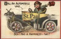St. Paul MN Car Pennant Dutch Comic c1910 Postcard