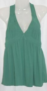 Juicy Couture Women's Halter Top Green Sexy Sleeveless Plung Neck Blouse Size 8