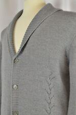 Hugo Boss Men's Cardigan Sweater Sz Large Wool Gray Warm Cowl Neck Hipster Cool