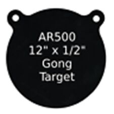 "One AR500 Steel Target Gong 1/2"" x 12"" Painted Black Shooting Practice Range"
