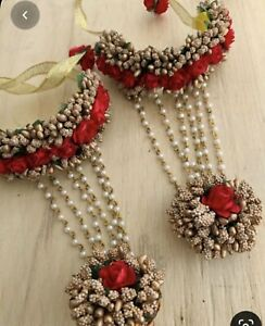 Flower Jewellery For Mehndi Hand Jewellery Bracelet With Ring