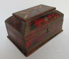Vintage Hand Carved Brass & Camel Bone Worked Wooden Box, Collectible