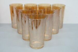 """10 Carnival Glass HONEYCOMB Gold Luster Iridescent 5"""" Tumblers Drinking Glasses"""