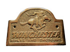 """New Brass Small 4.5"""" x 3.25"""" Winchester Rider Rifles and Shotguns Plaque Sign"""