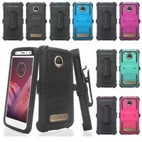 Moto Z2 Play / Moto Z2 Force Built-in Screen Protector Case Holster Belt Clip
