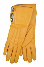 8312 COACH NWT WOMEN HONEY YELLOW 82825 TURN LOCK LEATHER CASHMERE GLOVES 6.5