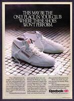 1986 Reebok Workout Mid-Cut Shoes on Shower Floor photo vintage promo print ad