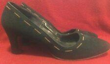 Jack Rogers Designer Vintage Blue Suede Shoes 7.5 Pinup Girl Retro Gold Chains