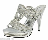 Ladies Stiletto High Heels Wedding Evening Prom Party Silver Sandals Size 3-8