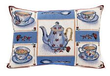 Tea Time tapestry cushion cover 32 x 48 country style teapot cup and saucer