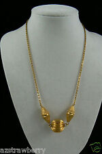 "VINTAGE GOLD TONE METAL BALL PENDANT CHAIN NECKLACE 18""L"