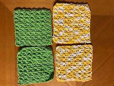 "LOT of 4-6"" Yellow Green COTTON Hand Crochet Dish Cloth/Doilies/Mats DISHCLOTHS"