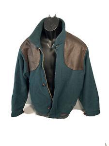 Browning Men's Jacket Bomber Size Medium Wool/Leather Green/Brown