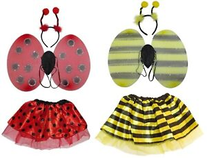 BUMBLE BEE LADYBIRD WINGS BOPPERS TUTU OUTFIT COSTUME FANCY DRESS SET HEADBAND