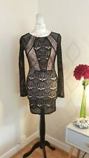 TOP SHOP Black Lace Bodycon Dress With Punch Hole Effect [Size 6]